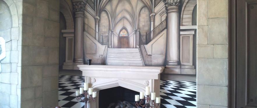 Trompe Loeil Mural Castle Room